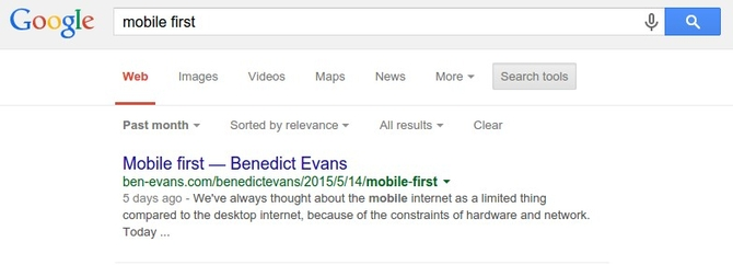 Benedict Evans gaining top position for 'mobile first' keywords
