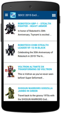 Toynami app: SDCC 2015 page